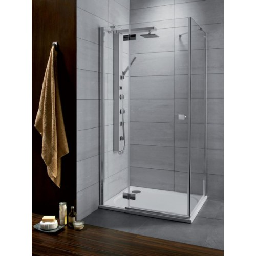 Radaway Almatea KDJ szögletes zuhanykabin 90x90 króm keret, grafit üveg
