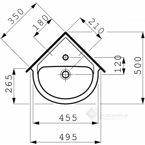 Laufen Pro B 49,5x50 sarok mosdó