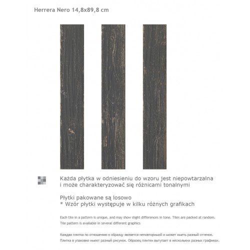 Paradyz Ceramika Herrera Nero 14,8x89,8 mázas gres padlólap
