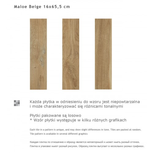Paradyz Ceramika Maloe Beige 16x65,5 gres padlólap