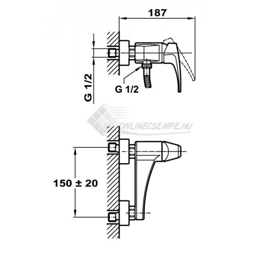 Teka MB2 zuhany csaptelep zuhanyszettel