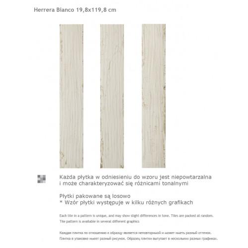Paradyz Ceramika Herrera Bianco 19,8x119,8 mázas gres padlólap