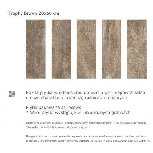 Paradyz Ceramika Trophy Brown 20x60 gres padlólap