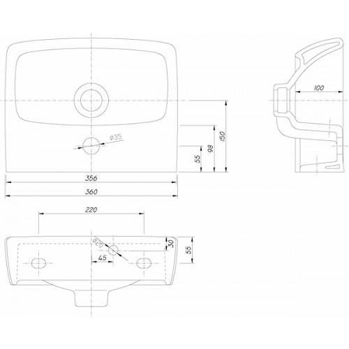 Kolo Nova Pro 36x29 mosdó, szögletes