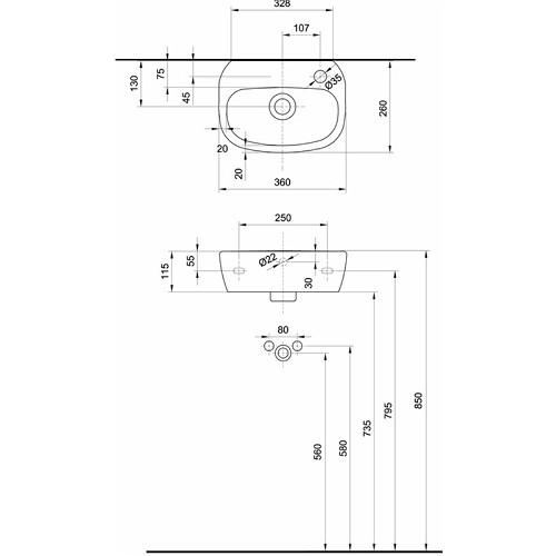 Kolo Style 36x26 jobbos mosdó