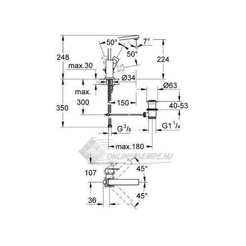 Grohe Eurocube magasított mosdó csaptelep