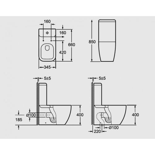 Arezzo Ohio AR-202 monoblokkos WC, mély öblités, variálható kifolyás