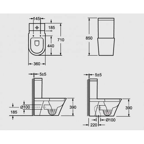 Arezzo Indiana AR-102 monoblokkos WC, mély öblités, variálható kifolyás