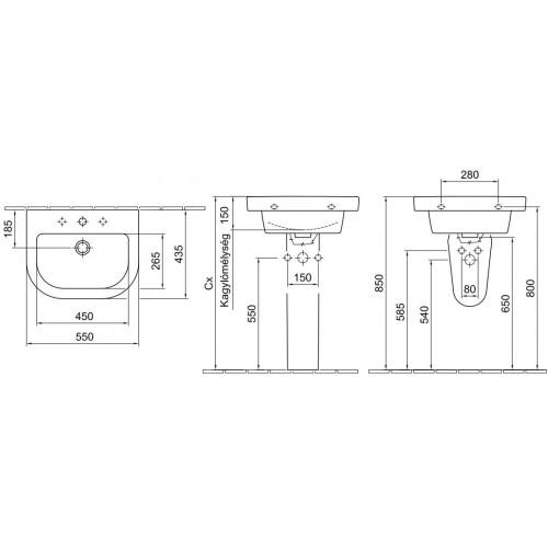 Alföldi Formo V 55x44 mosdó