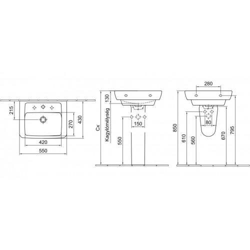 Alföldi Formo S 55x43 mosdó