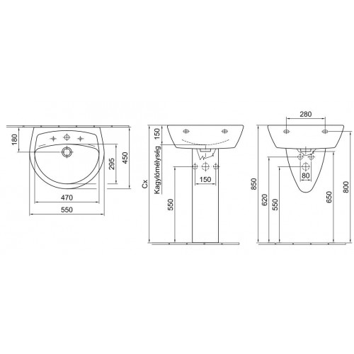 Alföldi Saval 2.0 55x45 mosdó