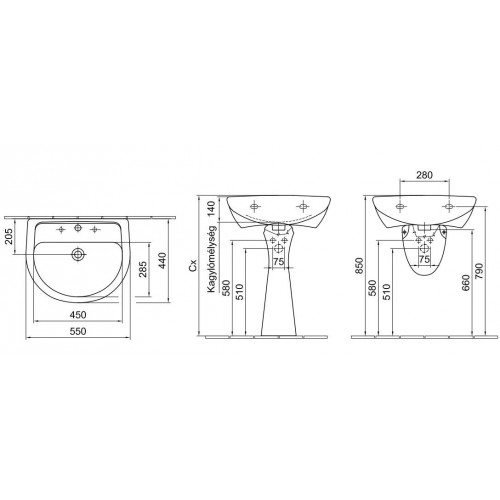 Alföldi Bázis 55x45 mosdó