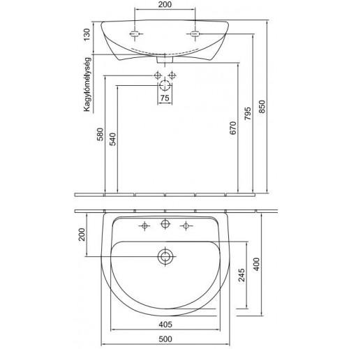 Alföldi Bázis 50x40 mosdó