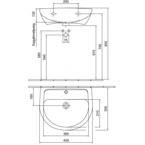 Alföldi Bázis 46x36 mosdó