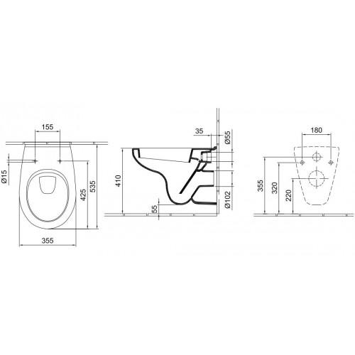 Alföldi Saval 2.0 fali WC mélyöblítésű