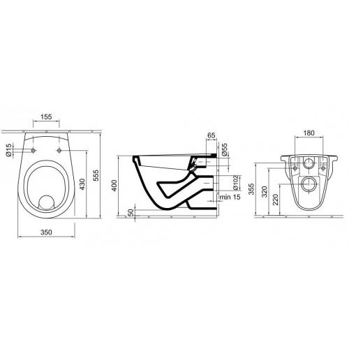 Alföldi Saval 2.0 fali WC laposöblítésű