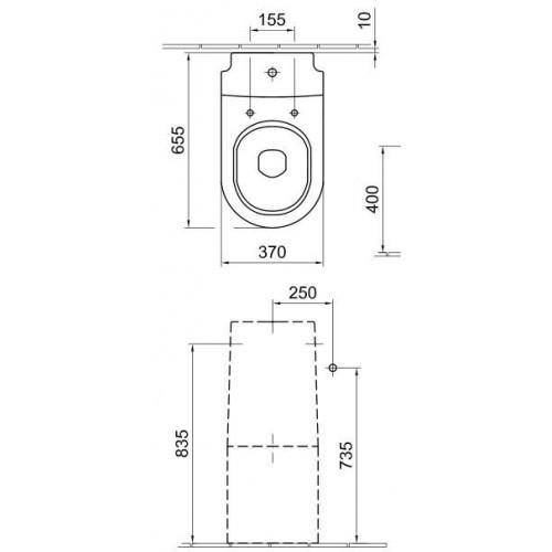 Alföldi Liner monoblokk WC mély öblítés, hátsó kifolyás