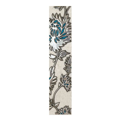 Domino Gris Flower Turkus 7,4x36 dekor csík