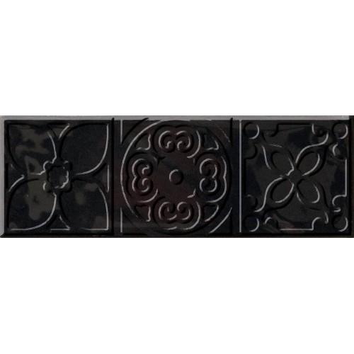 Cifre Ceramica Decor Altair Black 10x30 dekor csempe